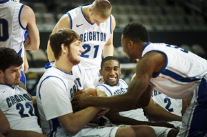From left, Creighton's Avery Dingman (22), Will Artino, Isaiah Zierden (21), Jahenns Manigat and Josh Jones joke around during their NCAA college basketball media day, Wednesday, Oct. 17, 2012, in Omaha, Neb. (AP Photo/The World-Herald, Alyssa Schukar) MAGS OUT; ALL NEBRASKA LOCAL BROADCAST TV OUT