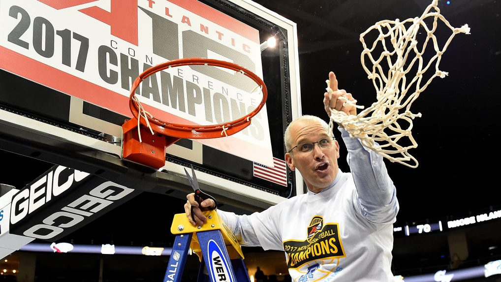 PITTSBURGH, PA - MARCH 12: Head coach Dan Hurley of the Rhode Island Rams cuts down the net after defeating the Virginia Commonwealth Rams 70-63 during the championship game of the Atlantic 10 Basketball Tournament at PPG PAINTS Arena on March 12, 2017 in Pittsburgh, Pennsylvania. (Photo by Joe Sargent/Getty Images)