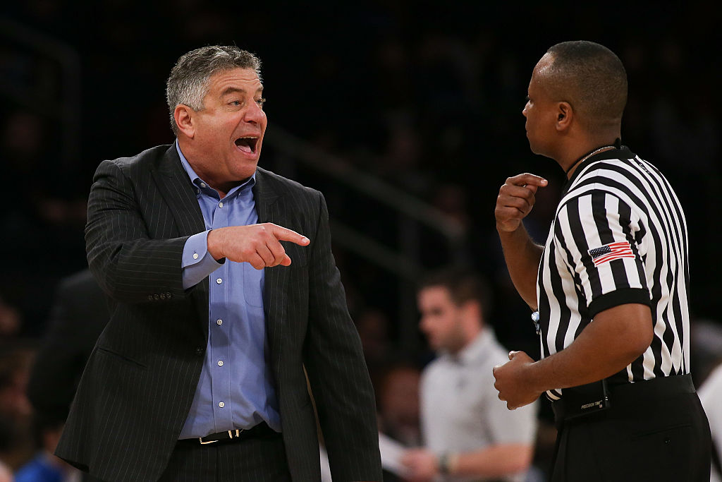 NEW YORK, NY - DECEMBER 12: Head coach Bruce Pearl of the Auburn Tigers reacts against the Boston College Eagles in the second half of the Under Armour Reunion at Madison Square Garden on December 12, 2016 in New York City. (Photo by Michael Reaves/Getty Images)