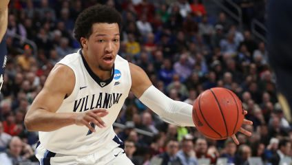 BUFFALO, NY - MARCH 16: Jalen Brunson #1 of the Villanova Wildcats drives against Elijah Long #55 of the Mount St. Mary's Mountaineers in the first half during the first round of the 2017 NCAA Men's Basketball Tournament at KeyBank Center on March 16, 2017 in Buffalo, New York. (Photo by Maddie Meyer/Getty Images)