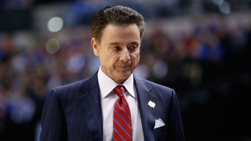 INDIANAPOLIS, IN - MARCH 19: Head coach Rick Pitino of the Louisville Cardinals looks on in the first half against the Michigan Wolverines during the second round of the 2017 NCAA Men's Basketball Tournament at the Bankers Life Fieldhouse on March 19, 2017 in Indianapolis, Indiana. (Photo by Joe Robbins/Getty Images)